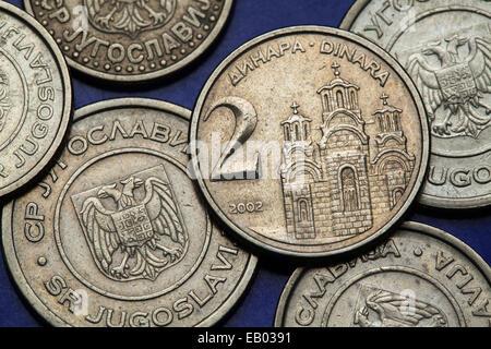 Coins of Yugoslavia. Gracanica monastery in Kosovo depicted on the Yugoslav two novi dinar coin (2002). - Stock Photo