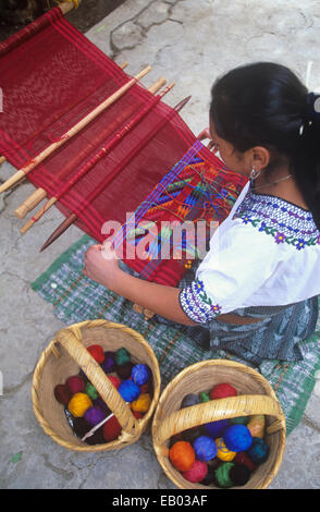 The weavers of San Antonio Aguas Calientes (near Antigua) are among the best in all of Guatemala, Central America - Stock Photo