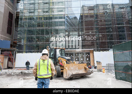 Construction at Brookfield Place in Battery Park City, a neighborhood in Manhattan, New York City. - Stock Photo