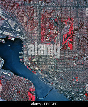 historical infrared aerial photograph of San Diego, California, 2002 - Stock Photo