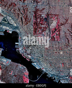 historical infrared aerial photograph of San Diego, California, 1996 - Stock Photo