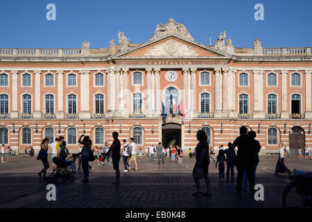 Town Hall or Mairie Facade on the Place du Capitole Town Square Toulouse France - Stock Photo