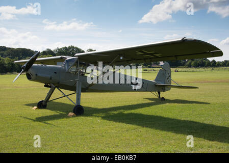 Biggleswade, UK - 29 June 2014: A vintage German Fieseler Storch aircraft at the Shuttleworth Collection air show. - Stock Photo