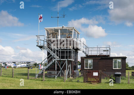 Biggleswade, UK - 29 June 2014: The control tower at the Shuttleworth Collection air show. - Stock Photo
