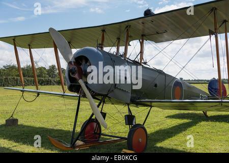 Biggleswade, UK - 29 June 2014: Vintage British training aircraft Avro 504K. 1918 at the Shuttleworth Collection - Stock Photo