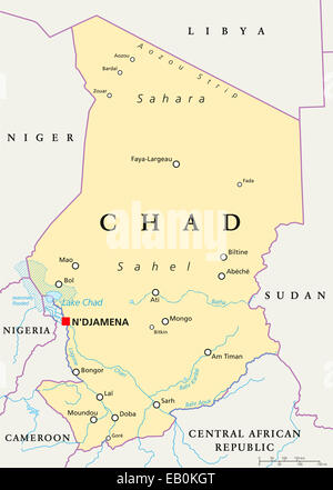 Chad political map with capital NDjamena international borders and