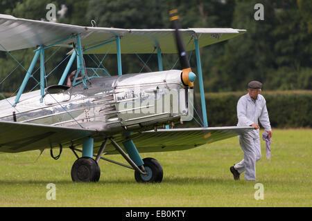 Biggleswade, UK - 29 June 2014: Vintage 1932 Blackburn B2 British bi-plane at the Shuttleworth Collection air show. - Stock Photo