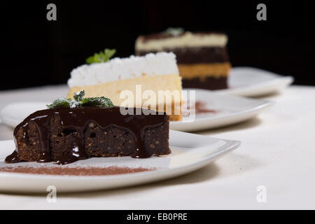Assorted desserts in a bakery or restaurant with individual slices of rich chocolate tart, layer cake and cheesecake - Stock Photo