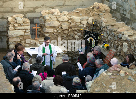 Perranporth, Cornwall, UK, 23 November 2014, The first service for over 30 years was held today at the 6th Century - Stock Photo