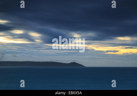 Dawn light Portwrinkle Cornwall - Stock Photo