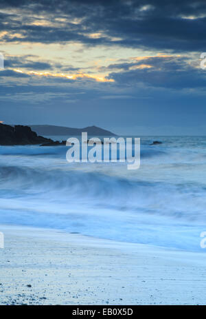 Crashing waves at Portwrinkle - Stock Photo