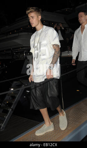 Justin Bieber on Roberto Cavalli Boat Party  Featuring: Justin Bieber Where: Cannes, France When: 21 May 2014 - Stock Photo