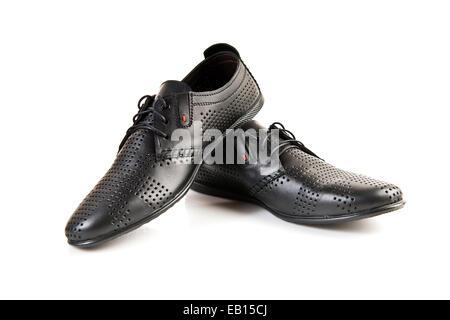 Black leather men's shoes on white - Stock Photo
