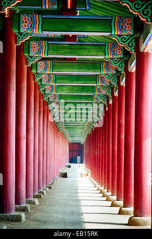 Colonnade in a Royal Palace, Gyeongbokgung Palace, Seoul, South Korea - Stock Photo