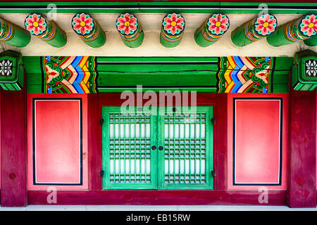 Close Up View of a Traditional Korean House with a Window, Gyeongbokgung Palace, Seoul, South Korea - Stock Photo