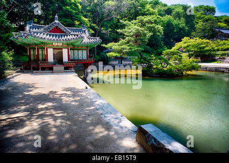 Buyongjeong Pavilion with a Pond, Huwon Area, Secret Garden, Changdeokgung Palace Complex, Seoul, South Korea - Stock Photo