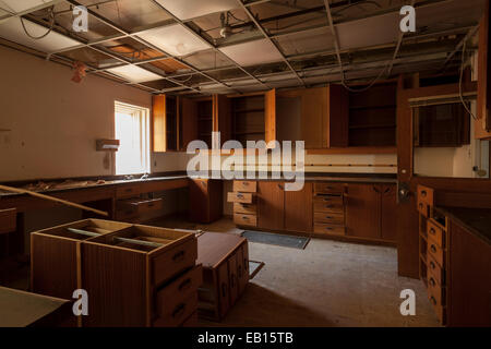 Empty cabinets and drawers in an abandoned hospital. Ontario, Canada. - Stock Photo