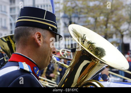 A tuba player of the Hellenic Army Band performs at the Military Tattoo on Syntagma Square. The bands of the three - Stock Photo