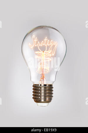 Strategy concept in a filament light bulb. - Stock Photo