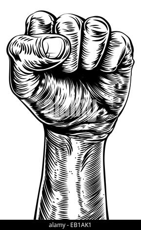 An original illustration of a a fist in a vintage style like on a propaganda poster or similar - Stock Photo
