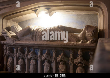 Monument of Sir Walter de Dunstanville died 1270, Church of Saint Andrew, Castle Combe, Wiltshire, England, UK - Stock Photo