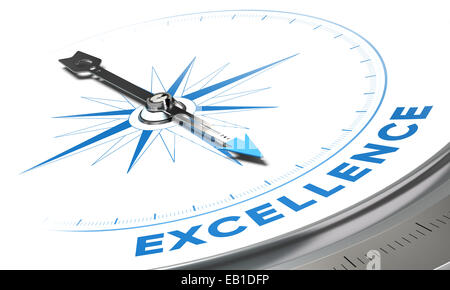Excellence background concept. Compass needle pointing a blue word, decorative image suitable for left bottom angle of a page.