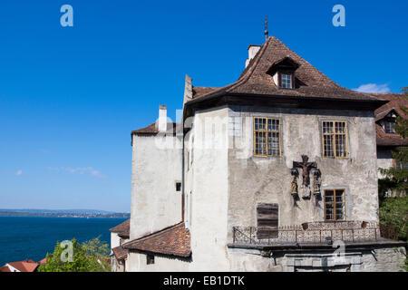 Burg Meersburg, Old Castle, Meersburg, Lake Constance, Baden-Wuerttemberg, Germany, Europe - Stock Photo