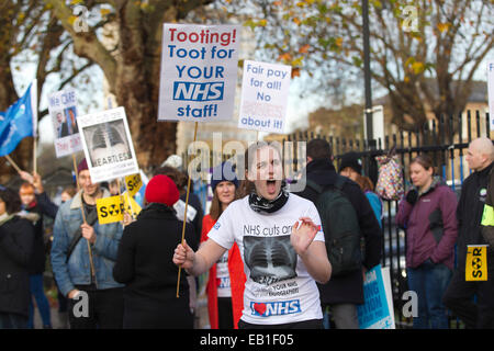 London, UK. 24th Nov, 2014. NHS staff on strike across UK, St George's Hospital, Tooting, South London, UK Picture - Stock Photo