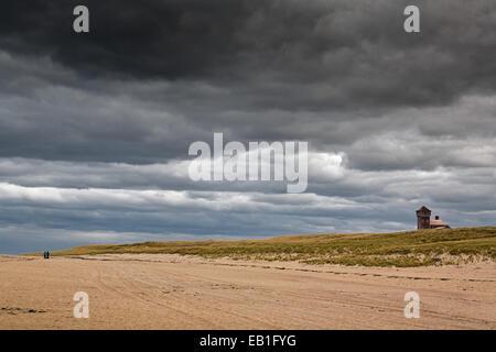 Moody sky over a Cape Cod beach, Massachusetts. - Stock Photo