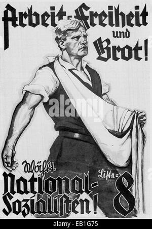 An Nazi party election poster for the Prussian parliamentary elections on 24 April 1932 reads 'Work, Freedom and - Stock Photo