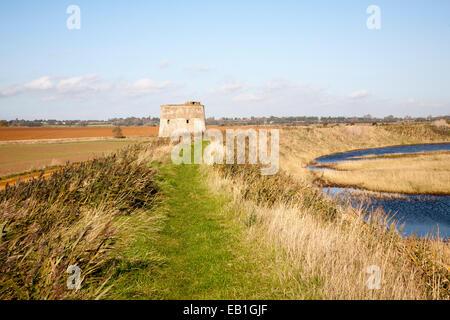Coastal flood defence dyke passing historic martello tower Y, Alderton, Suffolk, England, UK - Stock Photo