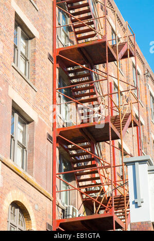 external fire escape staircase on the side of a building in Launceston Tasmania - Stock Photo