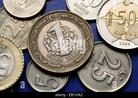 Coins of Turkey. Turkish one lira coins, - Stock Photo