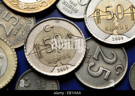 Coins of Turkey. Bosphorus Bridge over the Bosphorus strait in Istanbul depicted in the Turkish 50 kurus coin. - Stock Photo