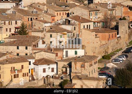 asciano village, crete senesi, siena, tuscany, italy, europe - Stock Photo