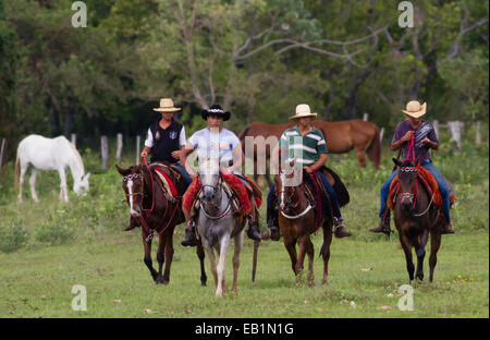 Brazilian cavaleiros (cowboys) in the Pantanal region of Mato Grosso do Sul state, Brazil - Stock Photo