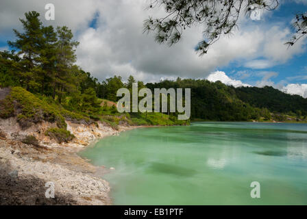 Linow Lake, a water-filled volcanic crater in North Sulawesi, Indonesia. - Stock Photo
