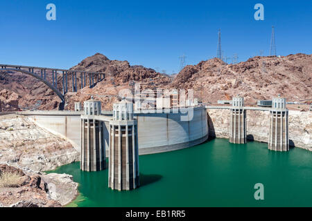 A view of Hoover Dam on the Colorado River. - Stock Photo