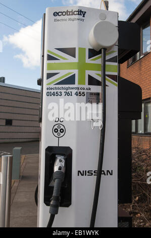 Recharging point for electric cars at a motorway service area. UK - Stock Photo