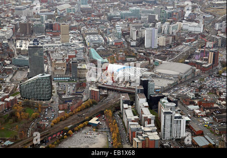 aerial view of Manchester city centre with Manchester Victoria Station in the foreground - Stock Photo
