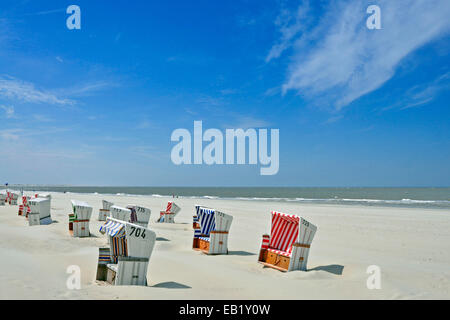 Baltrum Island, Sun chairs on the beach, Lower Saxony, East Frisian islands, Germany - Stock Photo