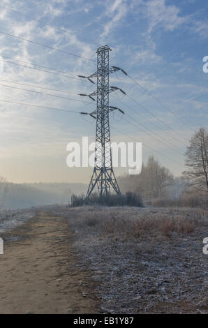 Power lines in winter. - Stock Photo