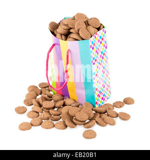 Colorful bag filled with ginger nuts - Stock Photo