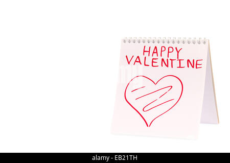Organizer with Valentine greeting isolated over white background - Stock Photo