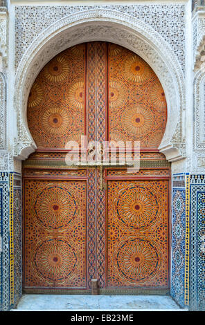 Beautiful decorated door in the medina of Fez, Morocco - Stock Photo