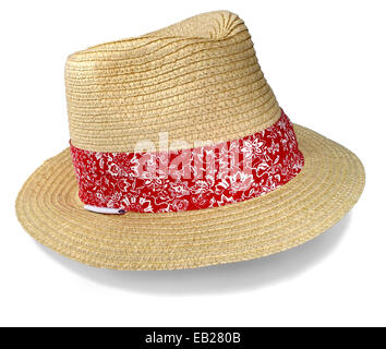 men's straw beach hat with a red band - Stock Photo