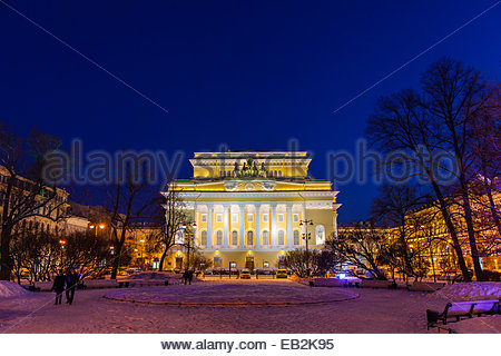The Alexandrinsky Theatre, or Russian State Pushkin Academy Drama Theater, at night. - Stock Photo