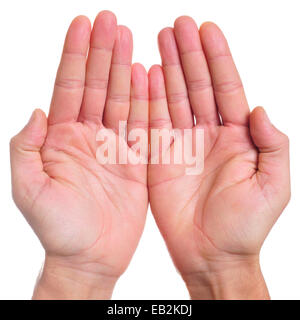 the open hands of a man as showing or holding something, or begging - Stock Photo