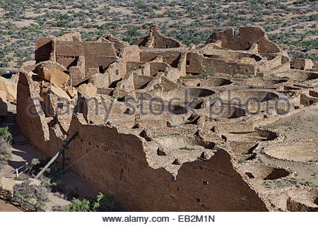 Pueblo Bonito as seen from the canyon rim above, Chaco Culture National Historical Park, New Mexico. - Stock Photo