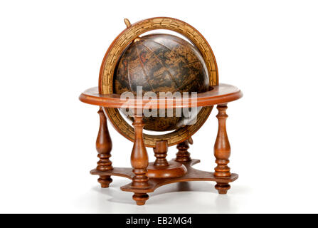 nautical world globe on table op wooden stand - Stock Photo